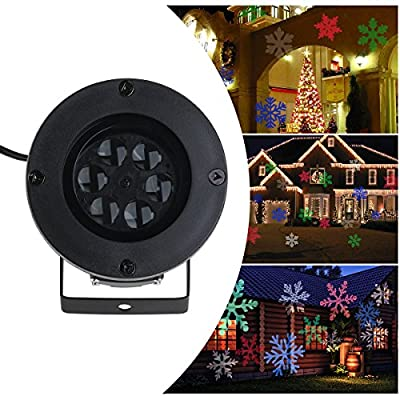 LEORX Christmas light projector Colorful Moving Snowflakes LED Landscape Projector Light