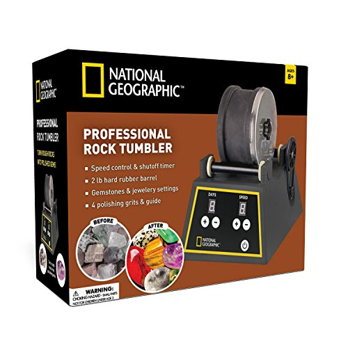 National Geographic Professional Rock Tumbler Kit- Advanced Features Include Shutoff Timer & Speed Control - 2Lb Barrel, 1Lb Gemstones, 4 Polishing Grits, Jewelry Fastenings & Learning ()