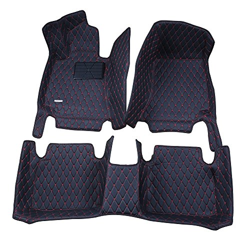 Spartan Autotec - Floor Liners Front , Second & Third Row Seats 4pcs for Land Rover Discovery Sport - King Diamond Series - Midnight (3rd Row Leather)