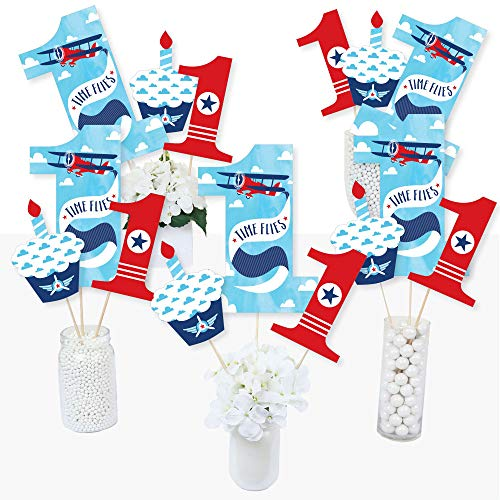 1st Birthday Taking Flight - Airplane - Vintage Plane First Birthday Party Centerpiece Sticks - Table Toppers - Set of 15 ()