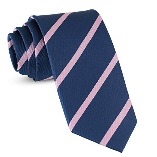(Handmade Striped Ties For Men Skinny Woven Slim Rep Navy Blue & Pink Mens Stripes Tie: Thin Necktie, Stylish Neckties For Every Outfit)