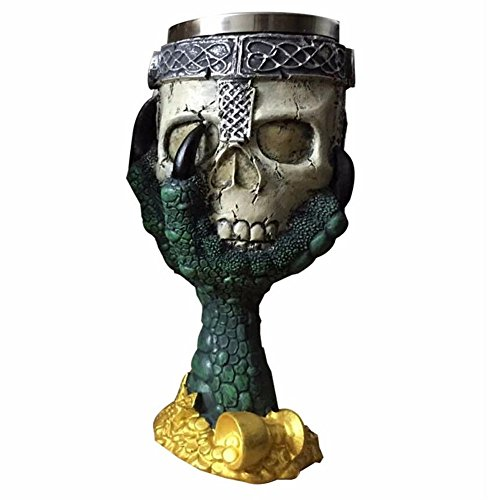 Stainless Steel 3D Skull Cup Wolf Claw Double Wall Drinking Mug Personalized Dragon Bone Metal Wine Goblet Glass Cups Mug (green)