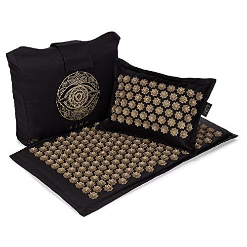 Ajna Acupressure Mat and Pillow Set – Natural Organic Linen Cotton Acupuncture Mat & Bag – Back Pain Relief, Neck Pain…