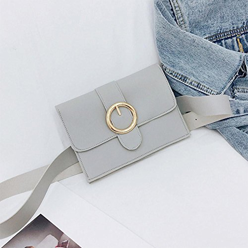 Pack Leather Hasp Handbags Women Pure Simple Chest Waist Grey Fanny Shoulder Domybest PU tq0Bzn4gx