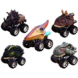 XADP 5 Pack Dino Cars Toys Pull Back Dinosaur Cars with Big Tire Wheel for Kids Toddlers Gifts