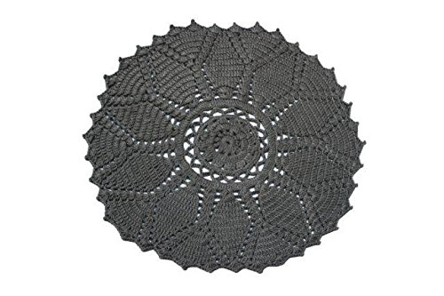 Spura Home 6'Round Charcoal Pet Yarn Crochet Round Rug (Rug Round Crochet)