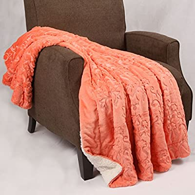 "Home Soft Things Batik Throw, 50"" x 60"", Spice Coral - Embroidered batik throw with super cozy Sherpa backing Size: 50 x 60 inches Perfect throw blanket for cuddling, napping, and even for home decor - blankets-throws, bedroom-sheets-comforters, bedroom - 512fnViBJWL. SS400  -"
