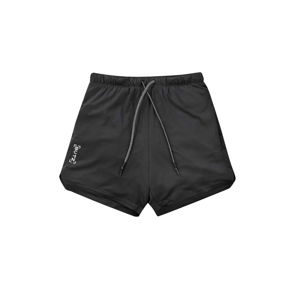 Lixada Mens Workout Running 2-in-1 Active Training Running Shorts Quick Drying Breathable Active Training Exercise Jogging Cycling Shorts with Pockets and Zipper Pocket
