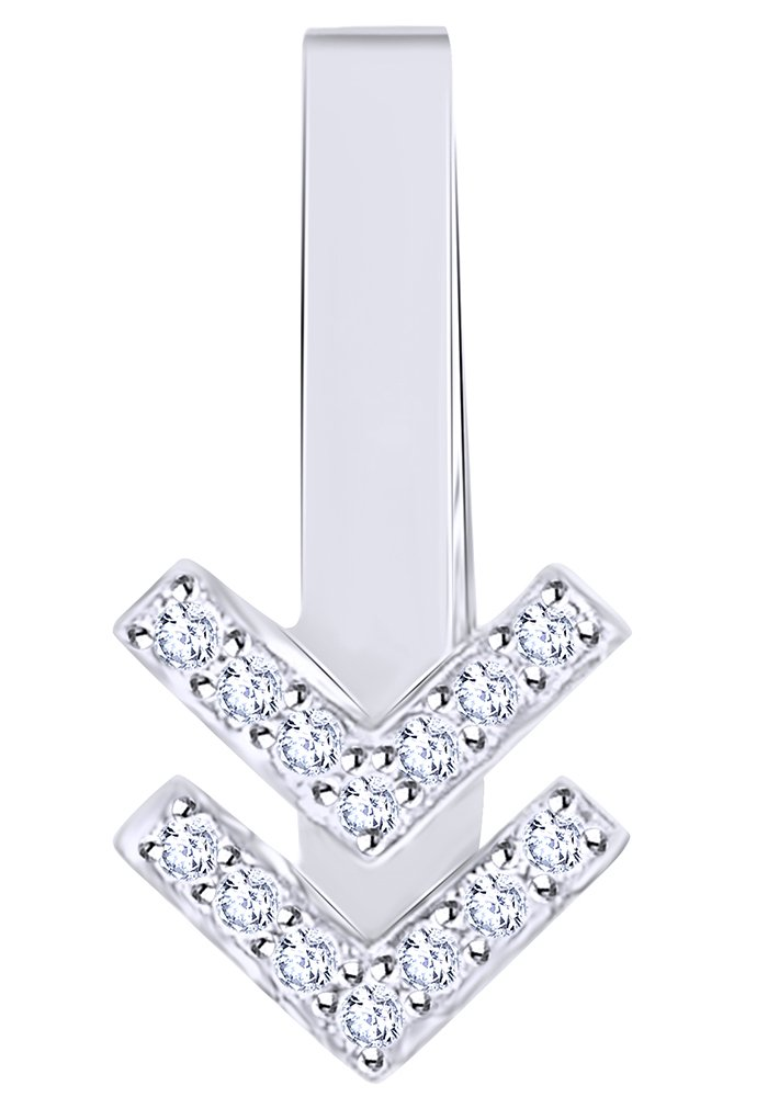 White Natural Diamond Ear Cuff Single Earring in 14K Solid White Gold