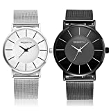 Top Plaza Unisex Simple Casual Mesh Metal Bracelet Watch Japanese Movement Ultra Thin Case Waterproof Analog Quartz Watch(Set of 2)