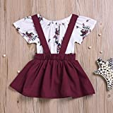 Sinfu 2Pcs Infant Baby Girls Floral Print Rompers Jumpsuit Strap Skirt Outfits Set