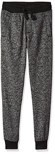 Southpole Boys' Big Jogger Fleece Pants in Basic Colors, Marled Black(New/Logo Patch), Large