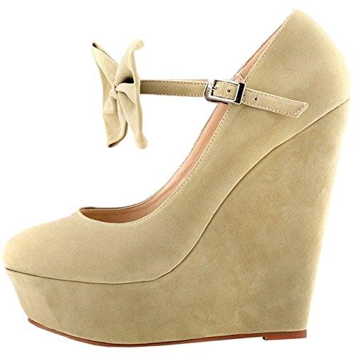 HooH Women's High Heel Wedge Platform Sandals Ankle Strap Pumps Beige 7bV5h1kS