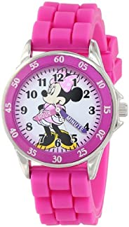 Minnie Mouse Kids' Analog Watch with Silver-Tone Casing, Pink Bezel, Pink Strap - Official Minnie Mouse Ch