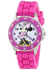 Disney Kids\' MN1157 Minnie Mouse Pink Watch with Rubber Band