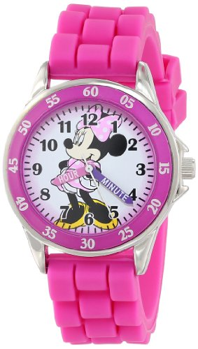 Minnie Mouse Kids' Analog Watch with Silver-Tone Casing, Pink Bezel, Pink Strap - Official Minnie Mouse Character on the Dial, Time-Teacher Watch, Safe for Children - Model: (Silver Tone Analog)
