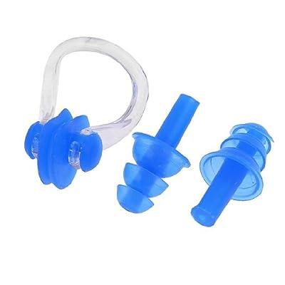 Ddoq de natation Pince-nez Bouchons d'oreilles en silicone Excellent écran pour adulte et enfants 6x 5cm (Bleu)
