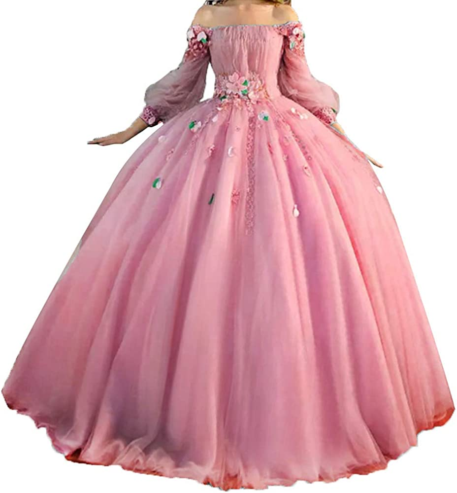 Tutu Vivi Women S Off Shoulder Long Sleeves Quinceanera Dresses Long Ball Gown Formal Party Dress Hot Pink At Amazon Women S Clothing Store