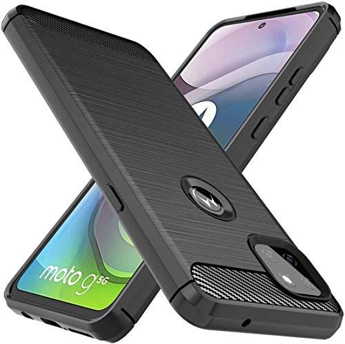 AONIR® Shockprof Carbon Fiber Zebra Back Case Cover forMotorola Moto G 5G  Black