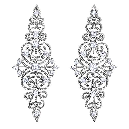 (EVER FAITH Women's Crystal 1920s Vintage Bridal Hollow Floral Filigree Dangle Earrings Clear Silver-Tone)