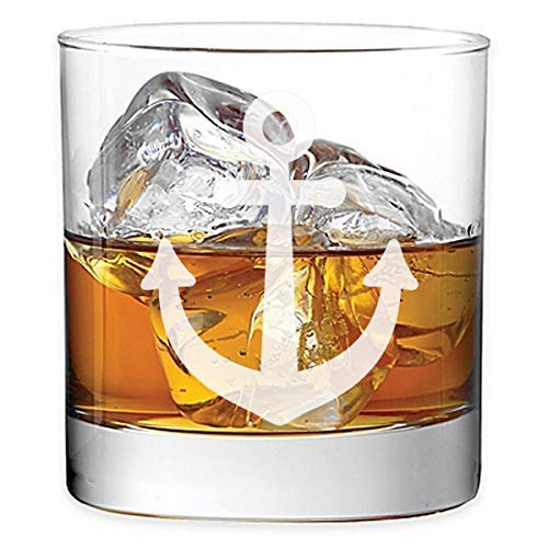 Ocean Theme 11 oz Rocks Glass Etched Whiskey Glass OT-01