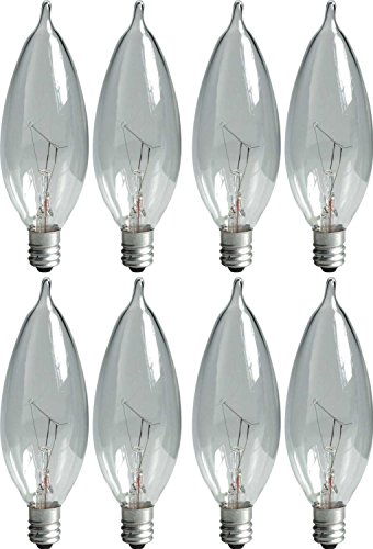 GE Lighting Crystal Clear 66104 25-Watt, 220-Lumen Bent Tip Light Bulb with Candelabra Base, 8-Pack - Bulb Tip