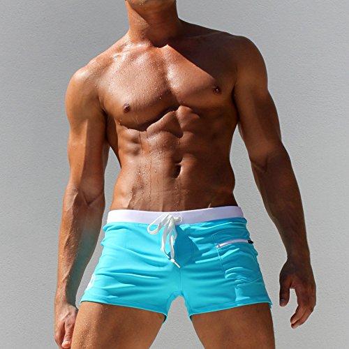ZQ@QXPantalon Taille basse taille poche fashion men's maillot de bain,bleu,XXL