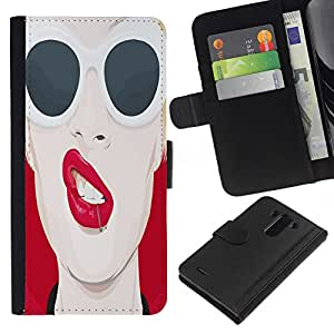 KingStore / Leather Etui en cuir / LG G3 / Enfriar los labios del arte pop Sexy Red