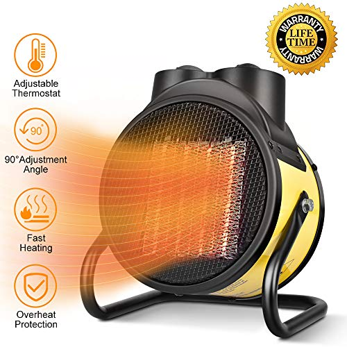 Heaters Patio Ceramic (Ceramic Heater with Adjustable Thermostat - Portable Space Heater, 0 \ 750W \ 1500W PTC Heater, Hot & Cool Fan and Overheat Protection, Energy-Saving Room Heater for Office and Home)