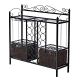 Buford Bar Wine Storage Made of Metal with 12 Bottle Rack, 2 Baskets, and Wine Glass Storage in Black and Espresso Finish 36.75'' H x 36.5'' W x 11'' D