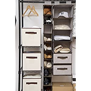 StorageWorks Hanging Shoes Organizer With Strong Shelf Of Loading, Collapsible Hanging Accessory Organizer With 4 Side Pocket By, Gray,10 Shelves, 5.5x12x54in