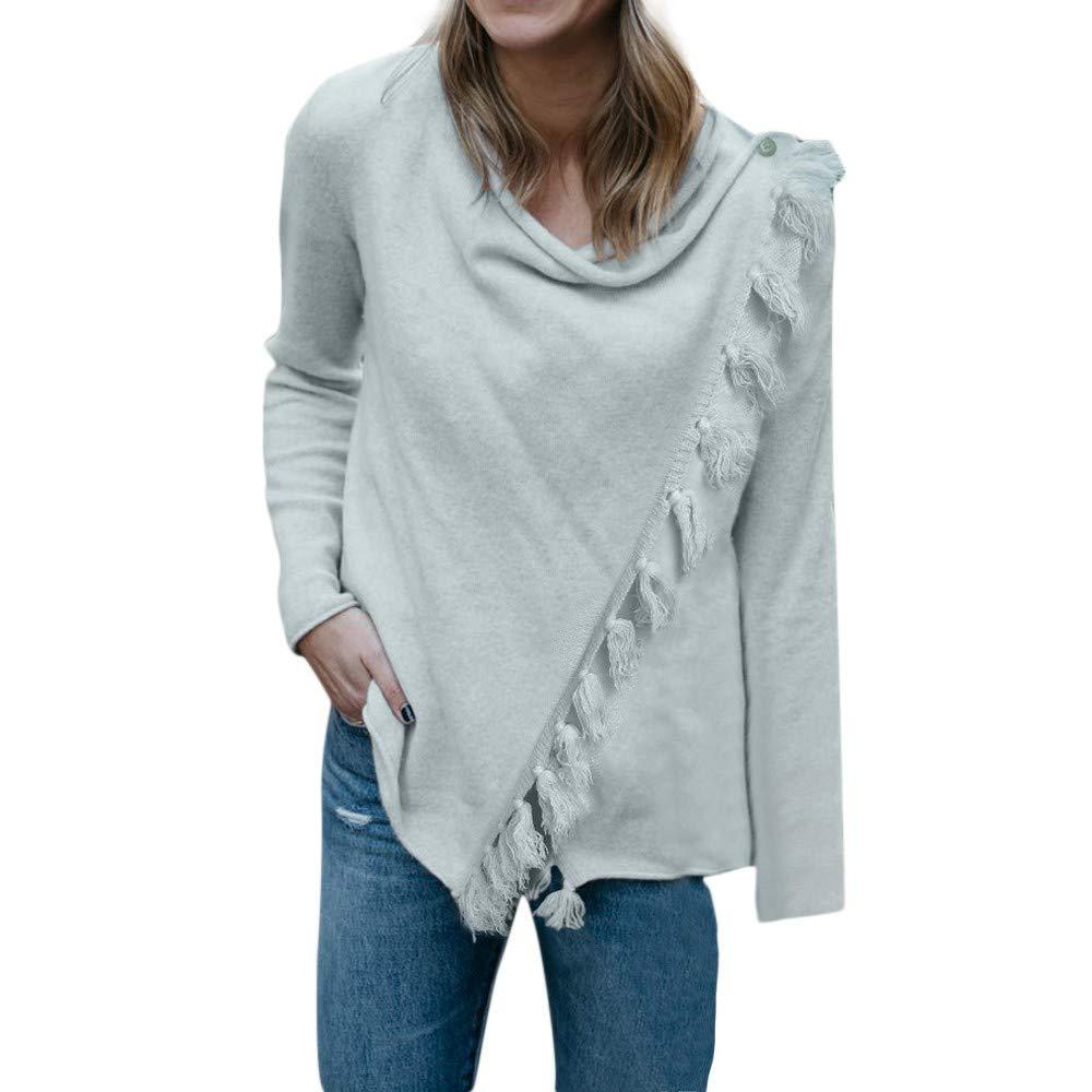 KaiCran Tassel Women Solid Long Sleeve Gradient Fringe Cardigan Tops Sweater Coat S-XL (Grey, S)