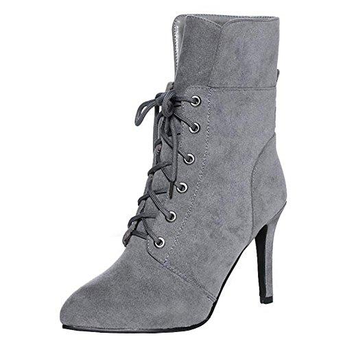 Women Lace Dress Up Elegant Boots Autumn Ankle Stiletto COOLCEPT H Grey 6yH7gq7