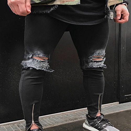 Casual Été Straight Pantalon Zipper Yuanu Décoration Wrinkled 1843 Homme Lavé Jeans Denim 8n5fZp