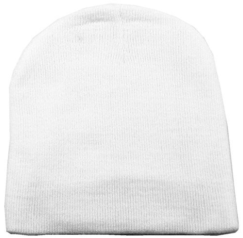 Simplicity Men & Womens Winter Solid Colored Ski Knit Beanie Hat White