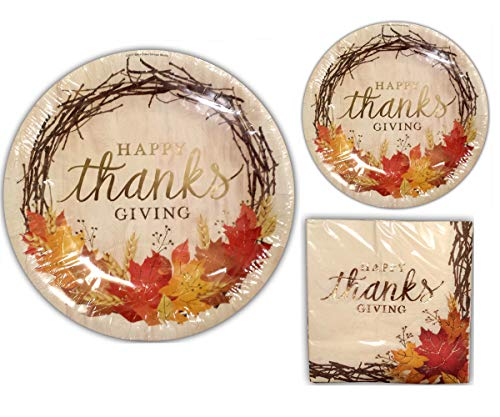 Happy Thanksgiving Disposable Dinnerware Set, Bundle Includes Service for 20: 20 Large Plates, 20 Dessert Plates, 30 Large Napkins (Seasonal Dinnerware)