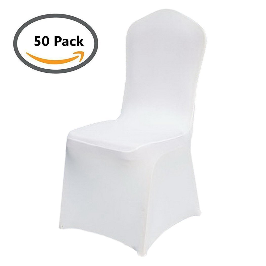 50pcs Universal Lycra Spandex Chair Covers for Wedding Hotel Party Banquet Decoration [US STOCK] (50, White)