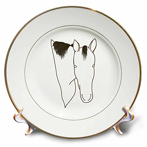 - 3dRose cp_20934_1 Horse Head Outline Art Drawing Porcelain Plate, 8-Inch