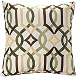 SimpleDecor Jacquard Geometric Links Accent Decorative Throw Pillow Covers Cushion Case Multicolor 18X18 Inch Brown
