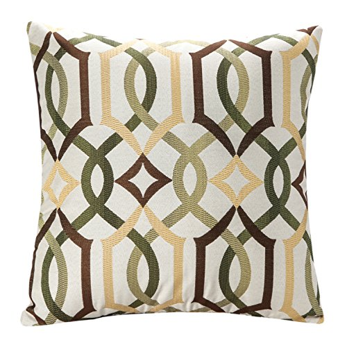 SimpleDecor Jacquard Geometric Links Accent Decorative Throw Pillow Covers Cushion Case Multicolor 18X18 Inch (Links Pillow)