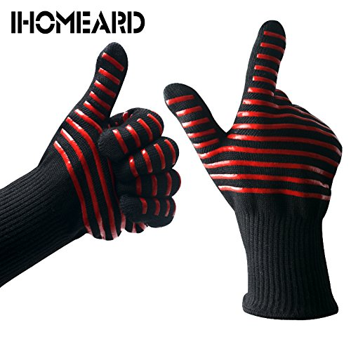 iHOMEARD BBQ Gloves 960°F/500°C Extreme Heat Resistant Barbecue Grill Gloves 14-Inch Long Hands-Protected FDA Grilling Baking Cooking Kitchen Gloves