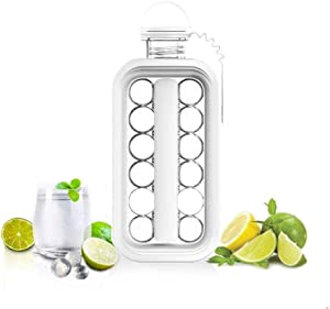 Ice Cube Trays LittleStar 2 in 1 Portable Ice Ball Maker Kettle With 17 Grids Flat Body Lid Cooling Ice Pop/Cube Molds For Hockey,Cocktail,Coffee,Whiskey,Champagne,Beer,Juice,Water