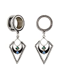 KUBOOZ Popular Dangle Pendant Jewelry Opal Stainless Steel Flare Ear Plugs Tunnels Gauges 2g to 3/4""