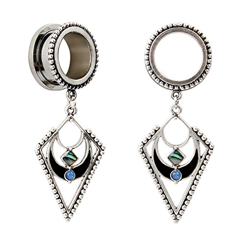 2 Gauge Earrings (KUBOOZ Popular Dangle Pendant Jewelry Opal Stainless Steel Screw Bck Ear Plugs Tunnels Gauges 0g)