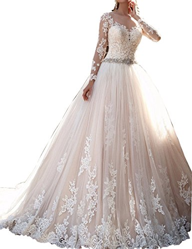 Champagne Lace Bridal Shop (Kevins Bridal Vintage Lace Wedding Dresses 2017 Long Sleeves Beaded Bridal Gowns Champagne Size 18W)
