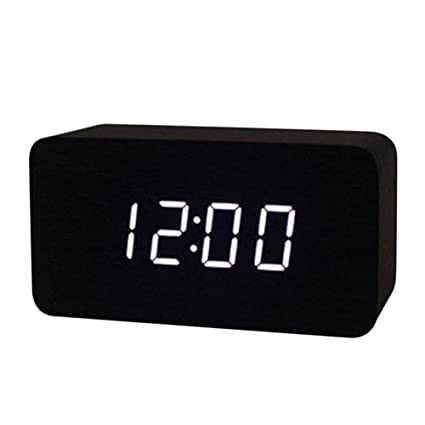 561321b9a2d0 Image Unavailable. Image not available for. Color  Voice Control Wooden LED  Alarm Large Digital Desk Bedroom USB AA Clock Thermometer Calendar  Multifunction
