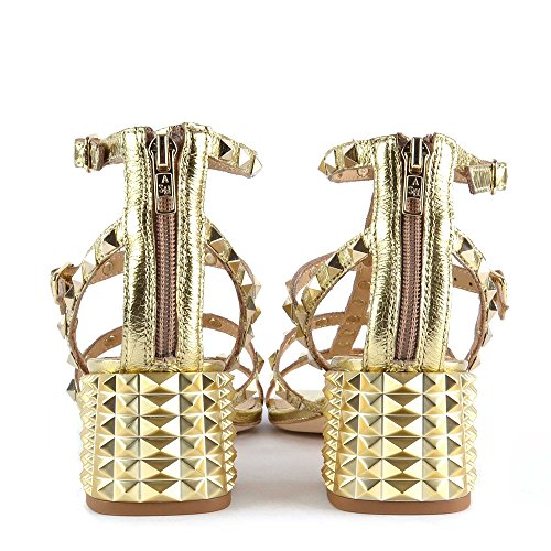 Ash Rolls Studded Heeled Sandals In Gold Leather Gold 9sMlnw