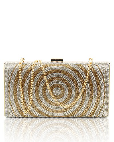 Party Evening Bridal 10 Clutch Crystals Wedding Prom Bag Sparkling Glitter Gold Gold Bag Diamante Women's Shiny amp; Home Fashion Wxw1YqO4W