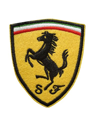 2 pieces FERRARI Iron On Patch Embroidered Grand Prix Motif Applique F1 Formula One Race Sports Car Decal 3.1 x 2.6 inches (7.8 x 6.5 cm)