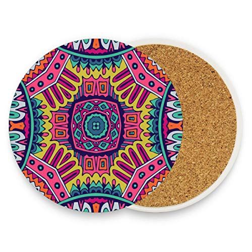 Ethnic Colorful Pattern Coasters, Prevent Furniture From Dirty And Scratched, Round Drink Coasters Set Suitable For Kinds Of Mugs And Cups, Living Room Decorations Gift 1 Piece (Best Shoes For Ddr)